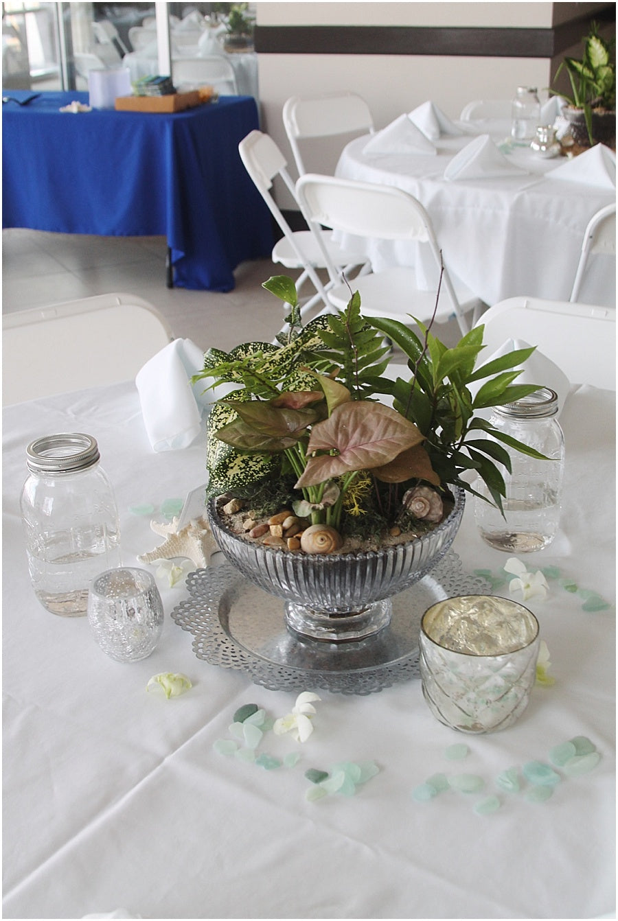 little miss lovely floral design // ocean city maryland wedding florist // dish garden succulent centerpieces