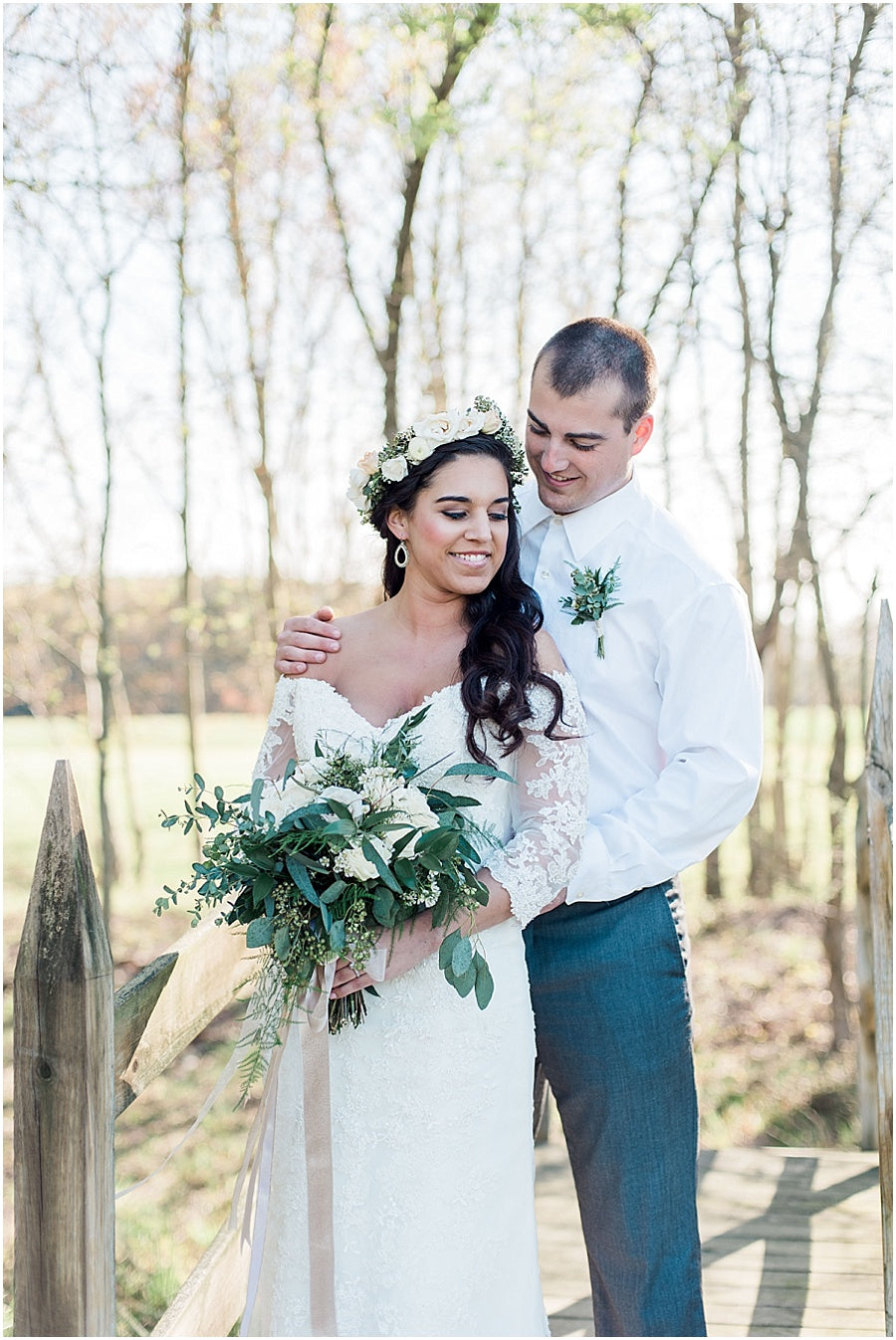 leah adkins photography // little miss lovely floral design // grey and green bridal bouquet and flower crown