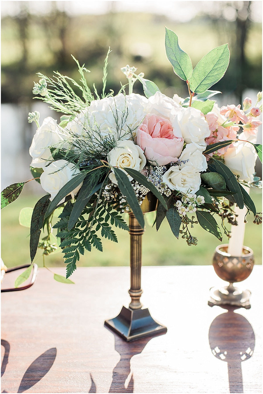 leah adkins photography // little miss lovely floral design // brass candlestick centerpiece with florals