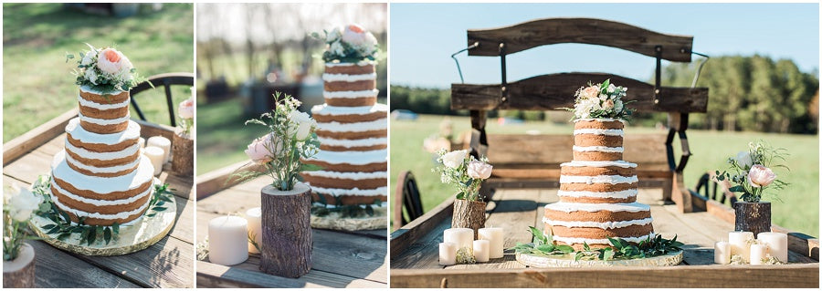 leah adkins photography // little miss lovely floral design // miss patti cake naked cake with flowers