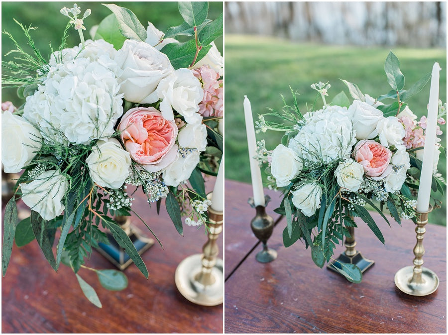 leah adkins photography // little miss lovely floral design // brass floral centerpiece