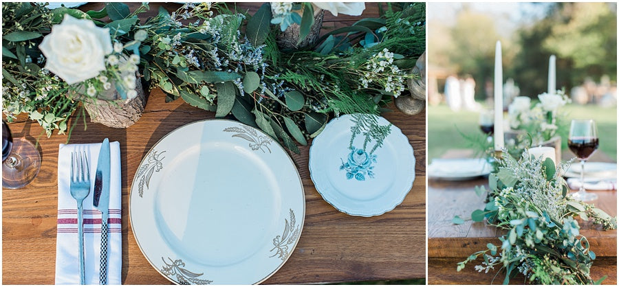 leah adkins photography // little miss lovely floral design // garland centerpiece with china place settings