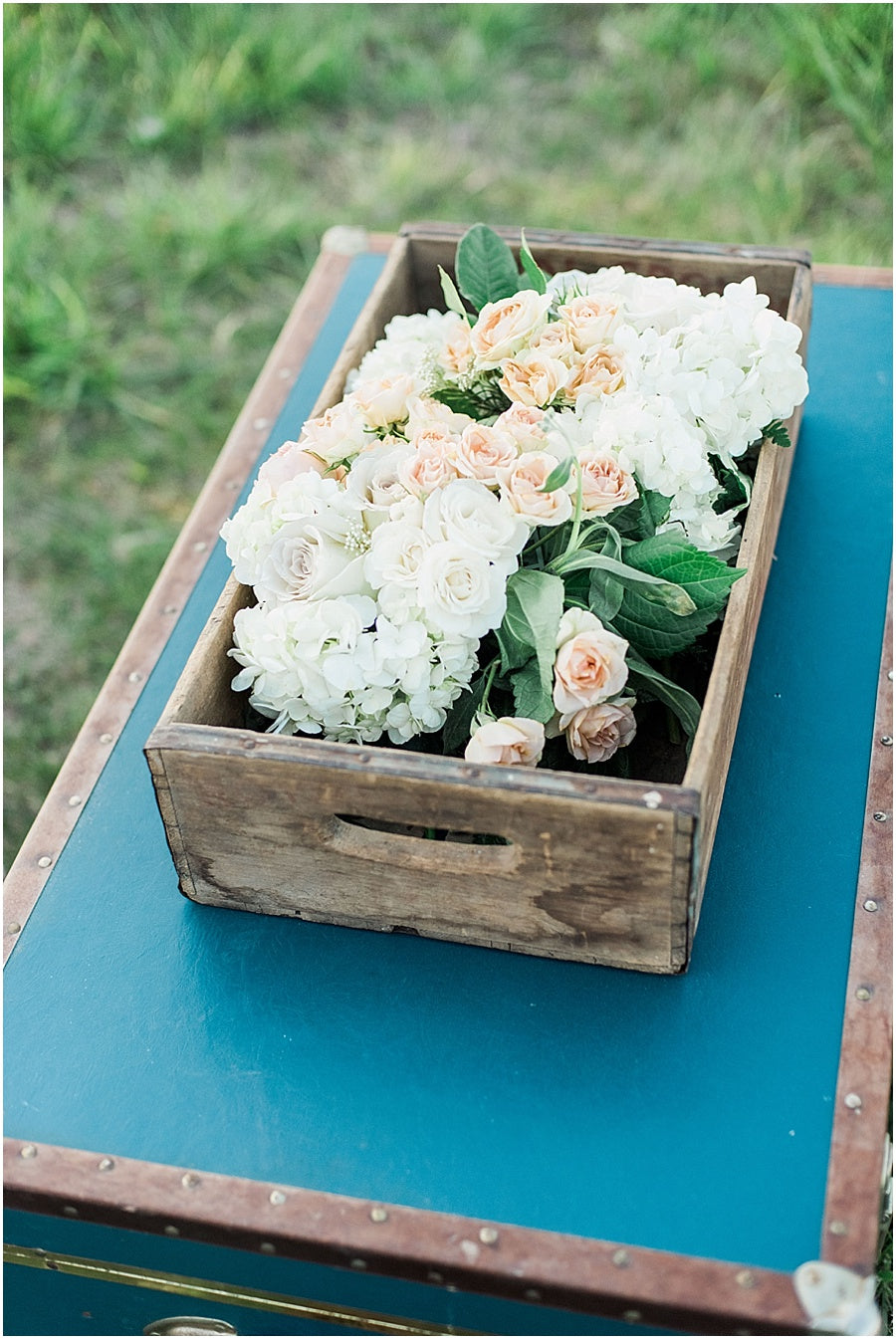 leah adkins photography // little miss lovely floral design // vintage wooden crate filled with flowers