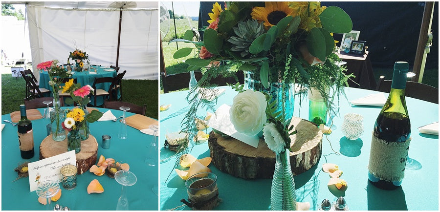 little miss lovely floral design // ocean city farm wedding with wood slices and sunflowers