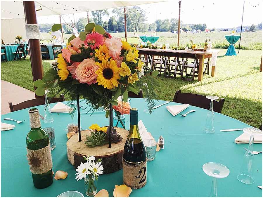little miss lovely floral design // sunflower and coral rose farm centerpiece // ocean city wedding florist