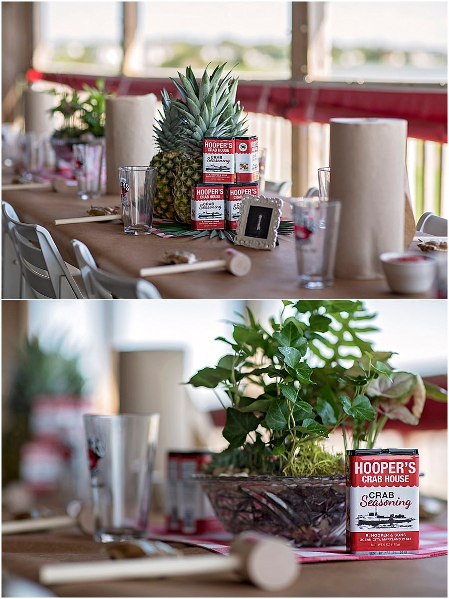 little miss lovely floral design // ocean city maryland dish garden rehearsal dinner centerpieces crab feast