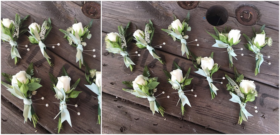 little miss lovely floral design // indian river life saving station wedding // groomsmen boutonnieres