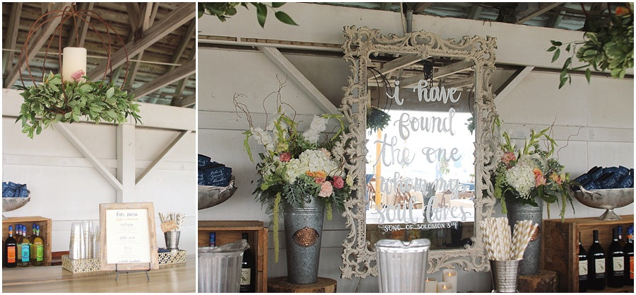 little miss lovely floral design // rehoboth beach de wedding // hanging floral orbs above bar