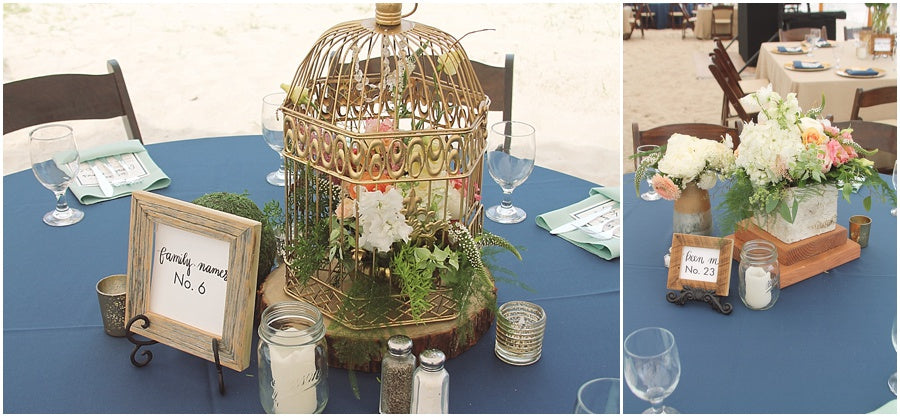 little miss lovely floral design // indian river life saving station wedding // birdcage rustic centerpeice