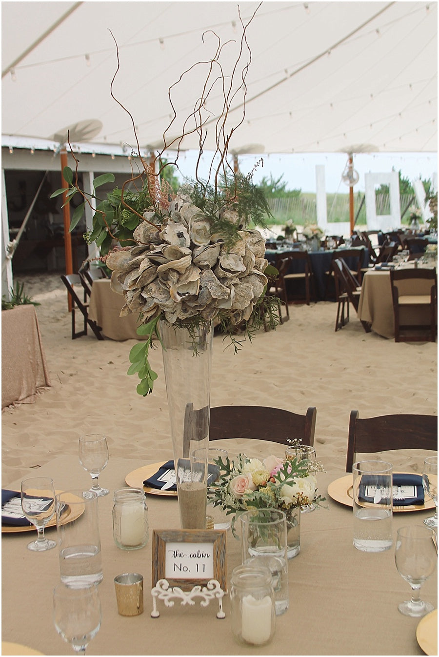little miss lovely floral design // indian river life saving station wedding // oyster shell wedding centerpiece