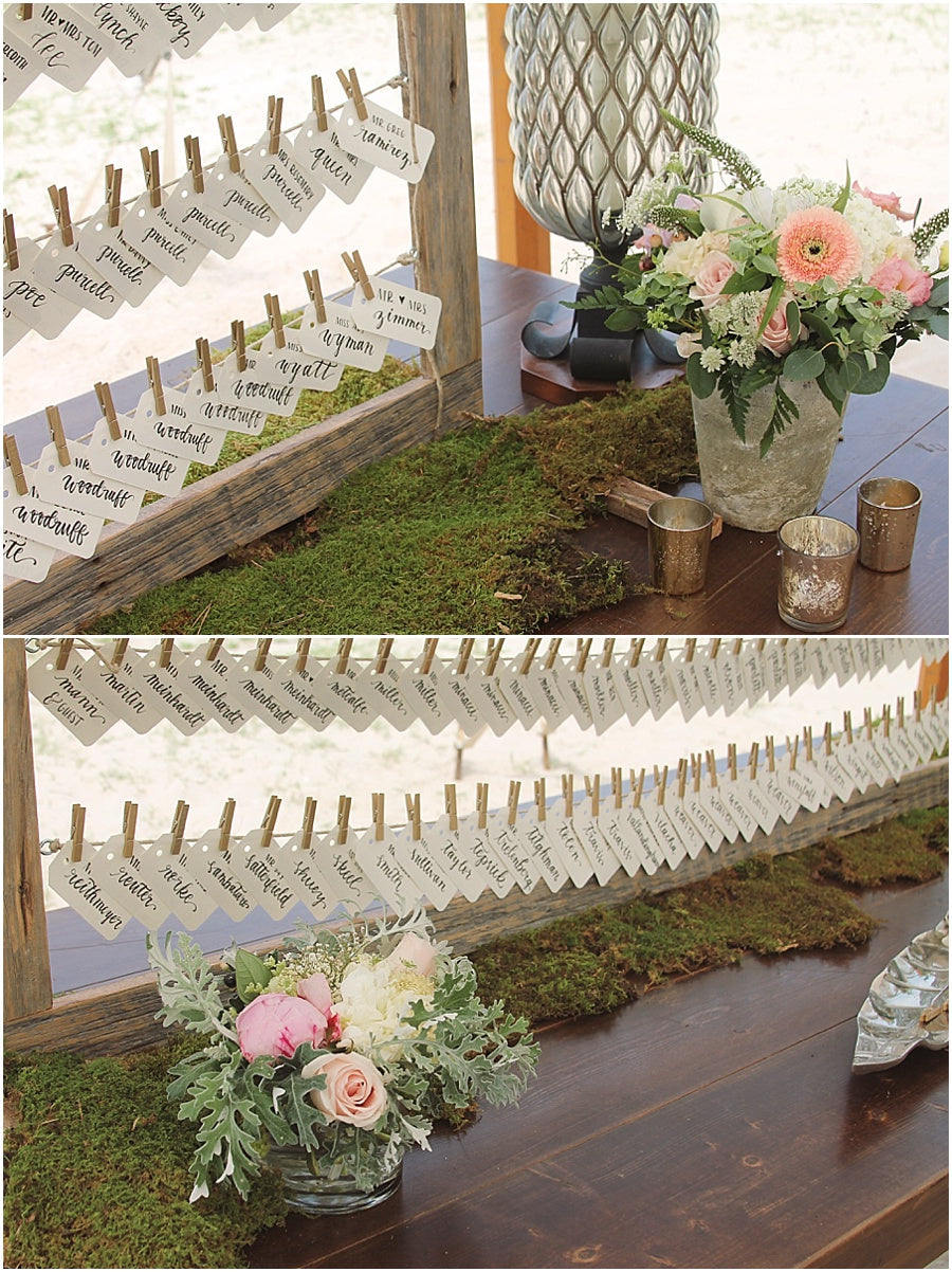 little miss lovely floral design // rehoboth beach de wedding // place card display and photo display