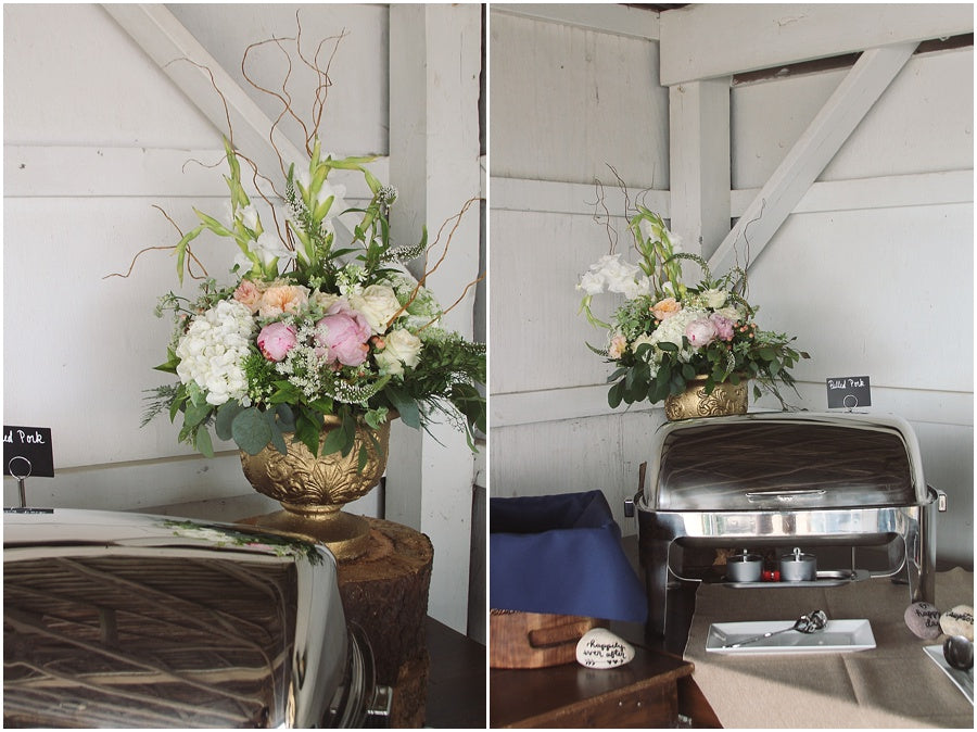 little miss lovely floral design // rehoboth beach de wedding // food and buffet table floral arrangements