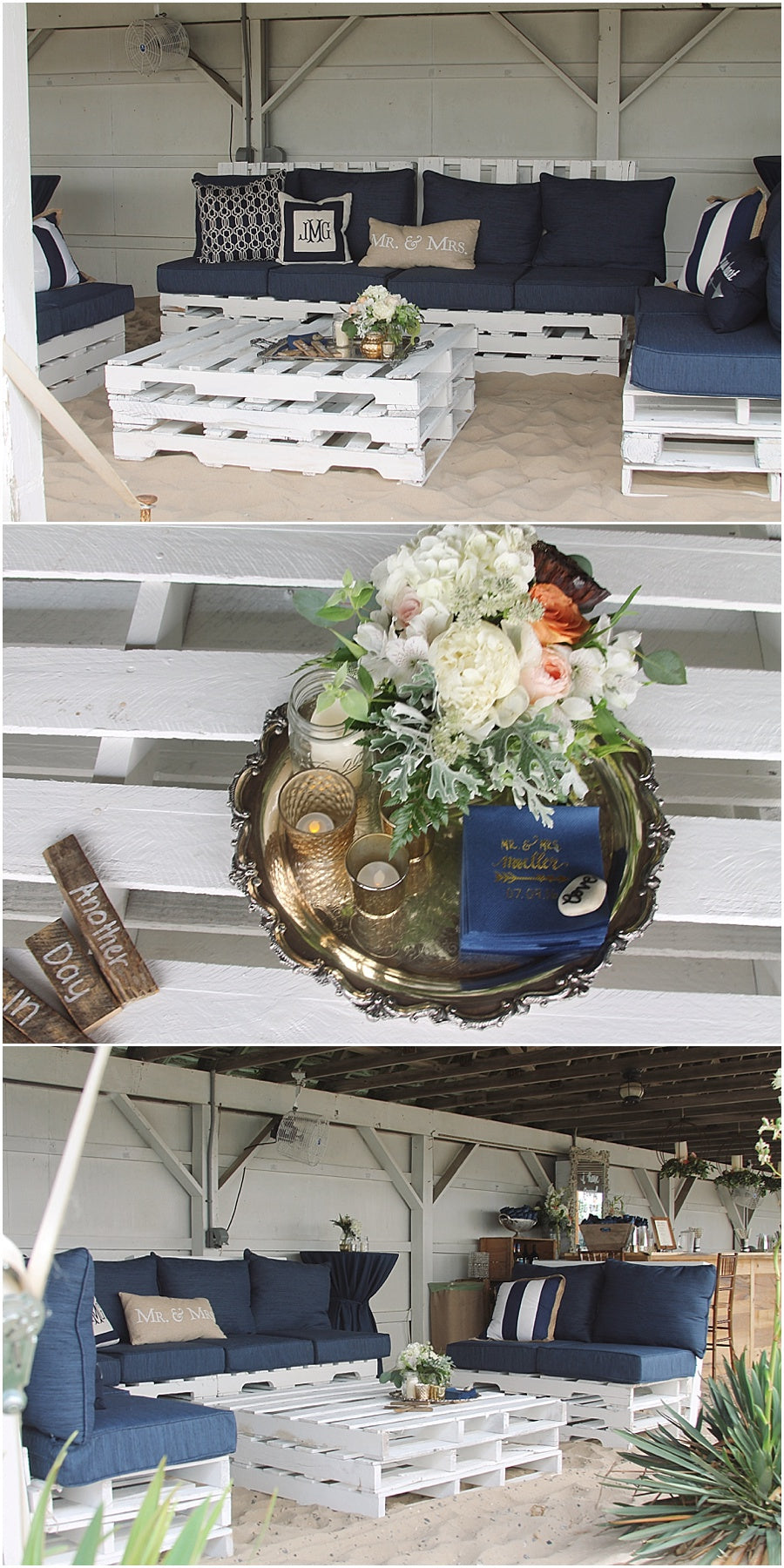 little miss lovely floral design // rehoboth beach de wedding // cocktail hour pallet lounge
