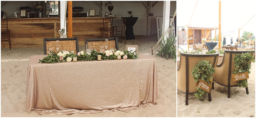 little miss lovely floral design // indian river life saving station wedding // rehoboth beach de wedding // sequin sweetheart table with garland