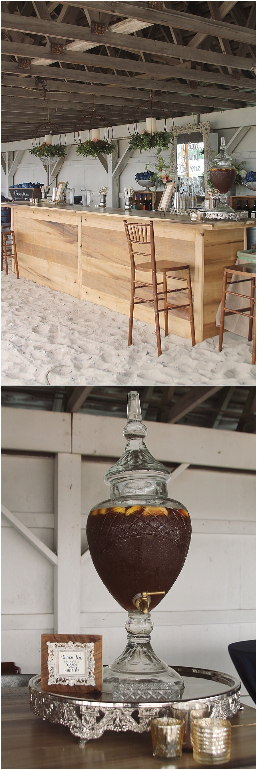 little miss lovely floral design // rehoboth beach de wedding // beach wedding barn wood bar