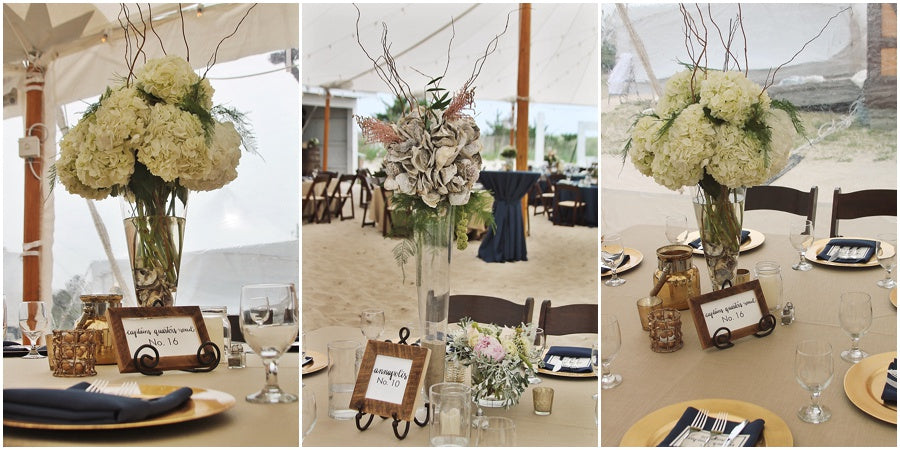 little miss lovely floral design // indian river life saving station wedding // rustic coastal beach wedding with hydrangea and oyster shells