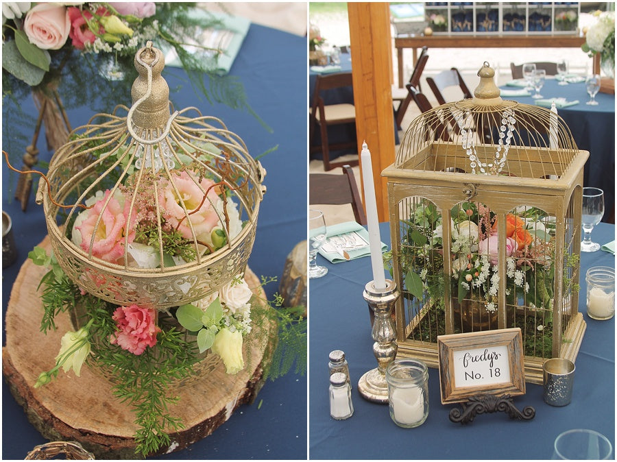 little miss lovely floral design // indian river life saving station wedding // rustic coastal beach wedding with gold birdcage floral centerpieces