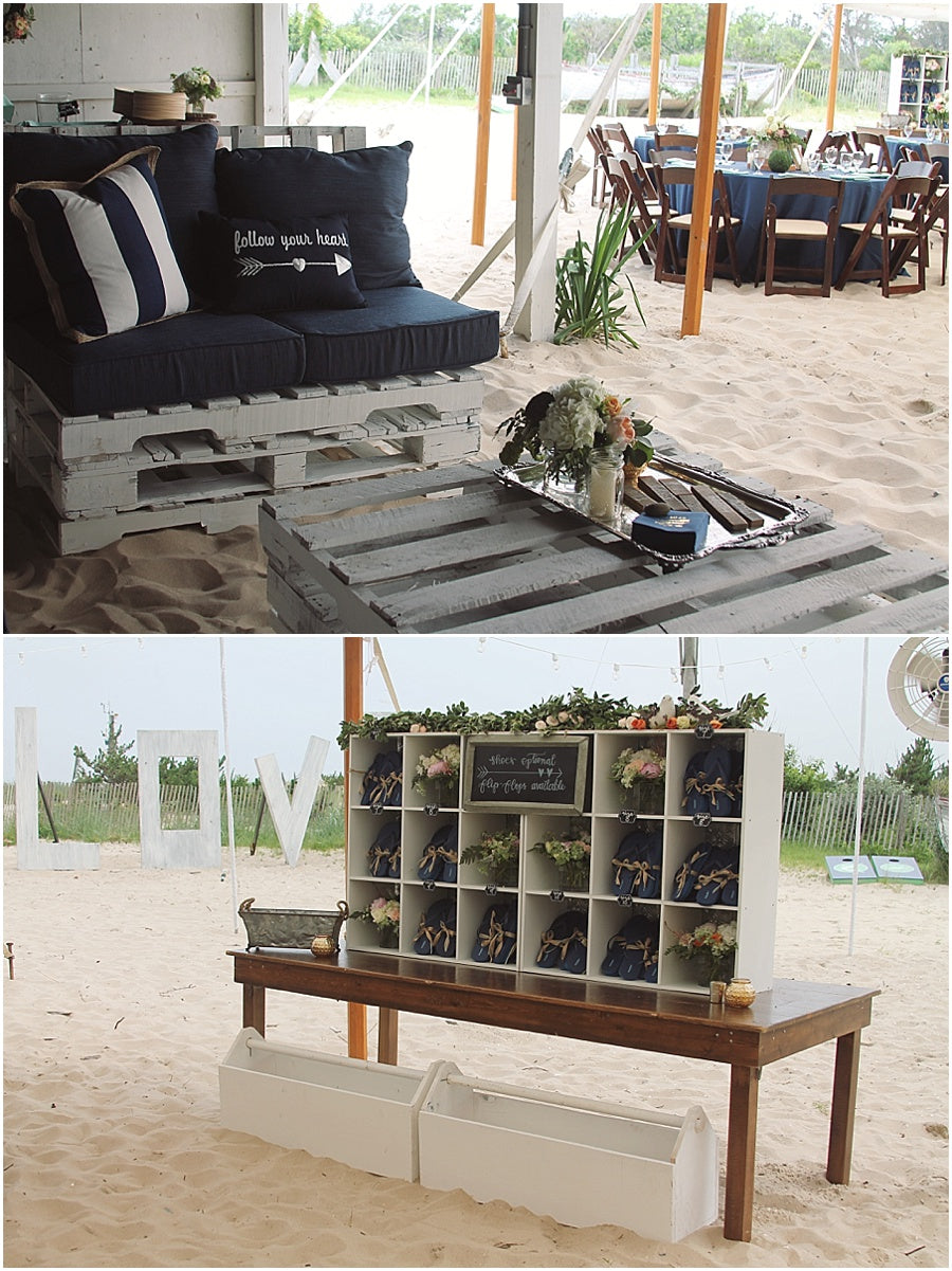 little miss lovely floral design // rehoboth beach de wedding // pallet lounge and flip flop station