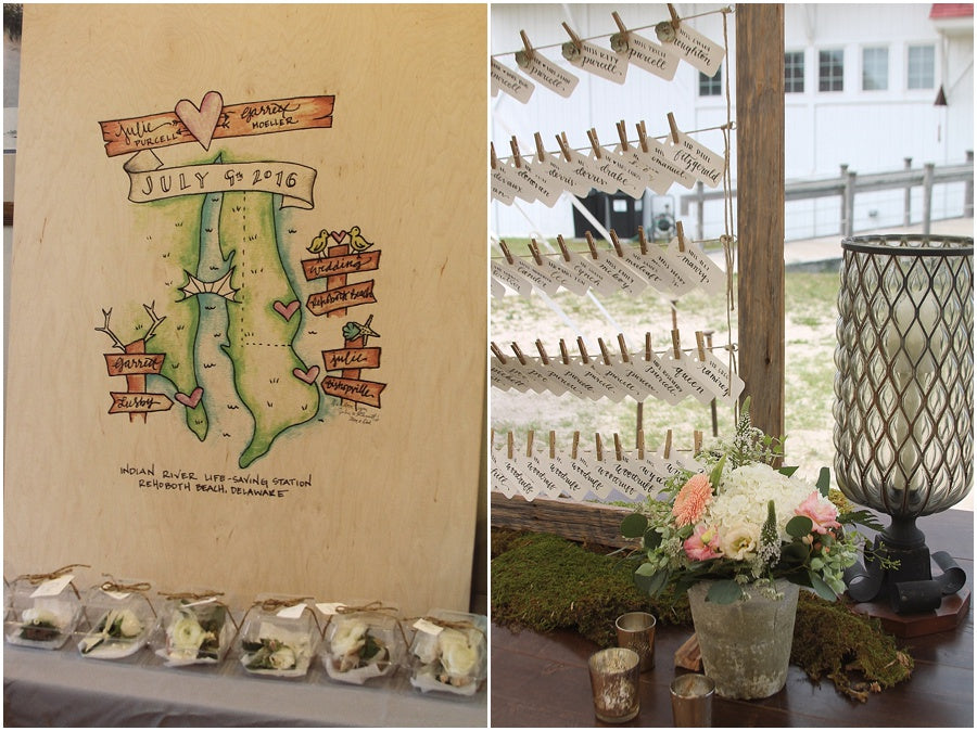 little miss lovely floral design // rehoboth beach de wedding // plak that guest book & place card display