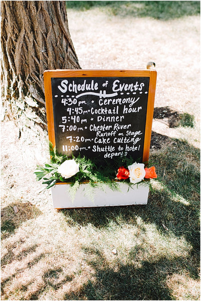 little miss lovely floral design // rental items // pocket chalkboard