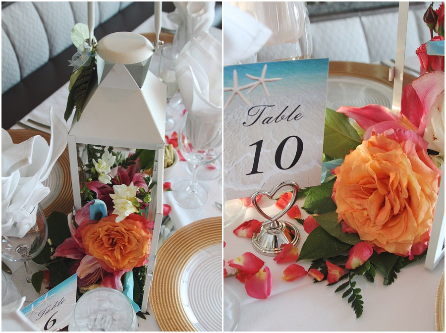 little miss lovely floral design // rehoboth beach de wedding salero ocean front wedding // tropical lily wedding flowers