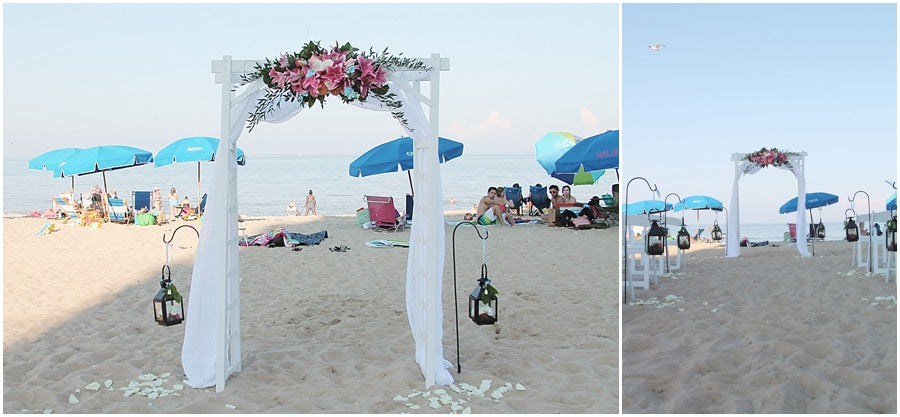 little miss lovely floral design // rehoboth beach de salero ocean front wedding // tropical lily wedding flowers