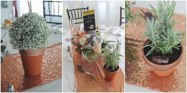 little miss lovely floral design // stocks manor mechanicsburg pa wedding // lavender and peach rose gold wedding flowers // babys breath terra cotta centerpieces