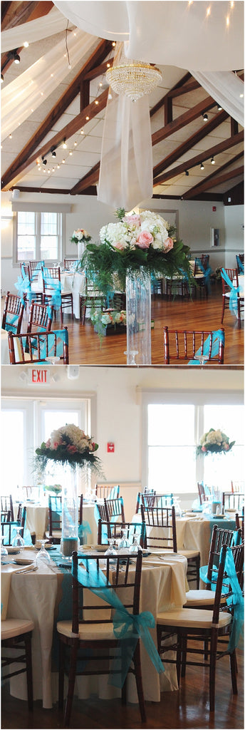 little miss lovely floral design // green hill country club wedding // teal hydrangea coral charm peony succulent centerpieces