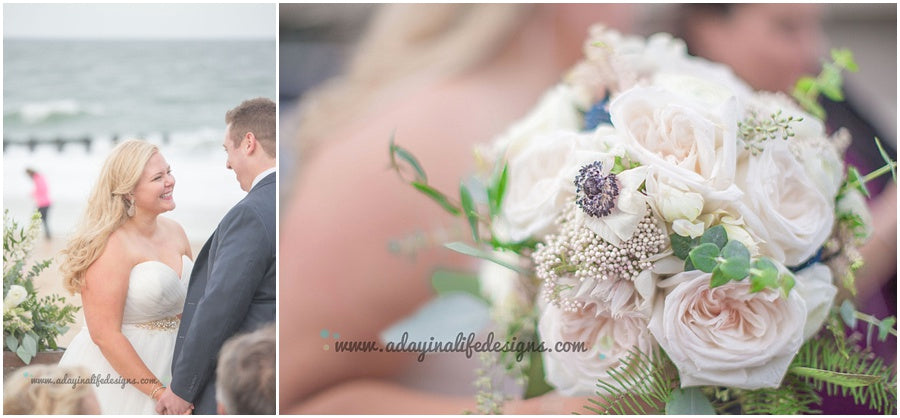 little miss lovely floral design // a day in a life design photography // rehoboth beach dogfish head wedding // anemone garden rose bouquet