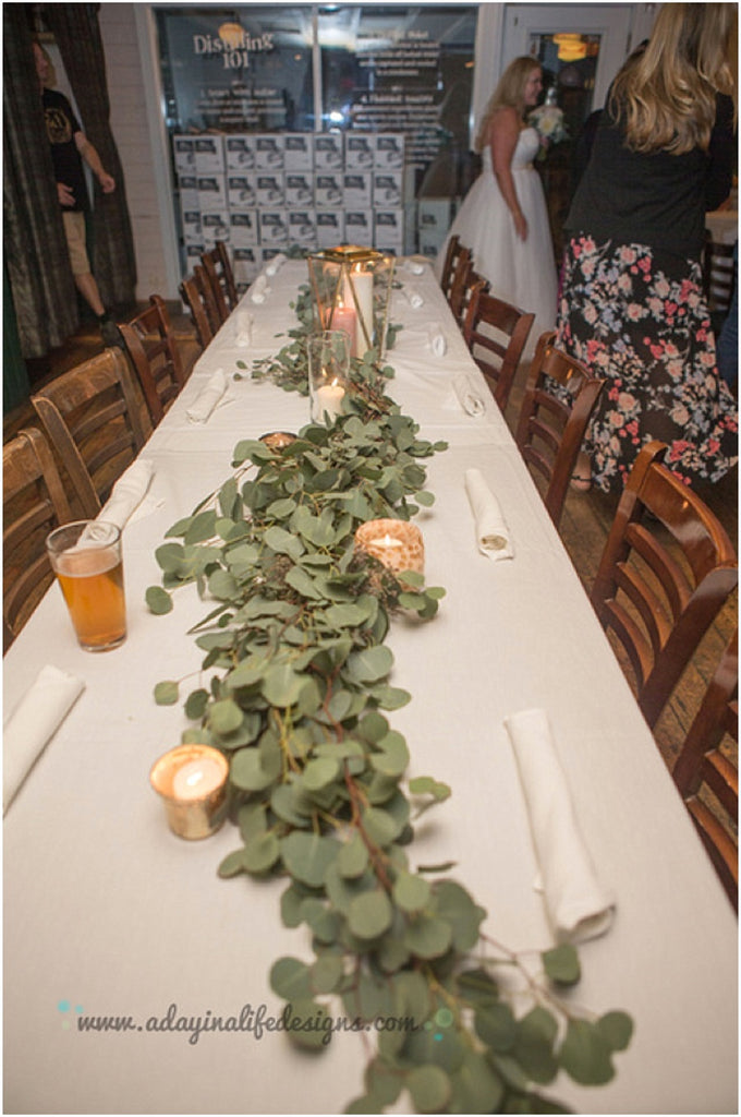 little miss lovely floral design // a day in a life design photography // rehoboth beach dogfish head wedding reception // eucalyptus garland centerpieces