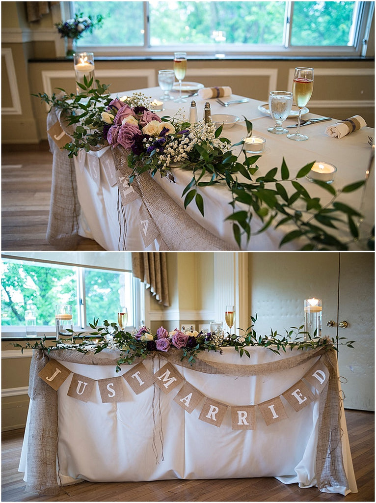 little miss lovely floral design // the inn at pocono manor wedding // pocono mountains wedding // purple and white sweetheart table