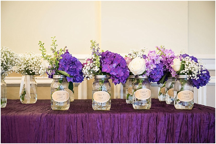 little miss lovely floral design // the inn at pocono manor wedding // pocono mountains wedding // white roses and purple hydrangea centerpieces