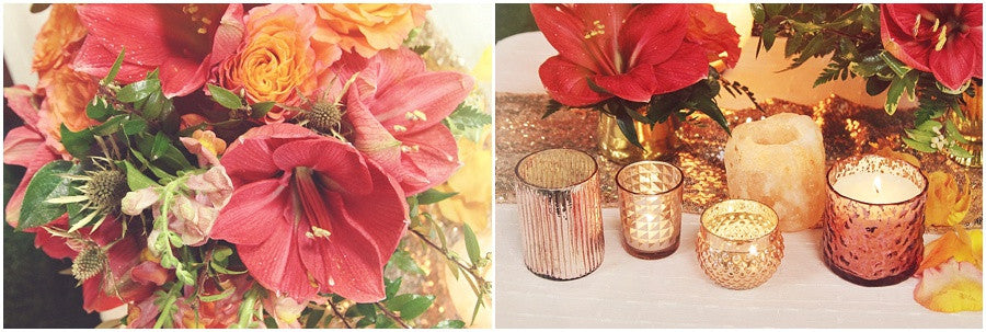 little miss lovely floral design // coral and gold wedding inspiration with salt crystals and sequins