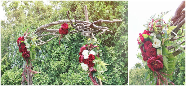 little miss lovely floral design // red peony driftwood archway // brooklyn estate wedding ocean city berlin md