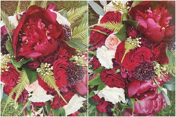 little miss lovely floral design // red peony cascading bridal bouquet // brooklyn estate wedding ocean city berlin md
