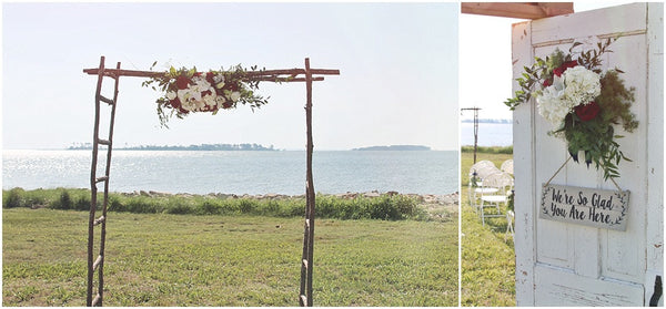 little miss lovely floral design // old saltys fishing creek md wedding // red white and blue eastern shore wedding