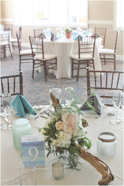 little miss lovely floral design // lighthouse sound wedding ocean city maryland // driftwood sea glass centerpieces