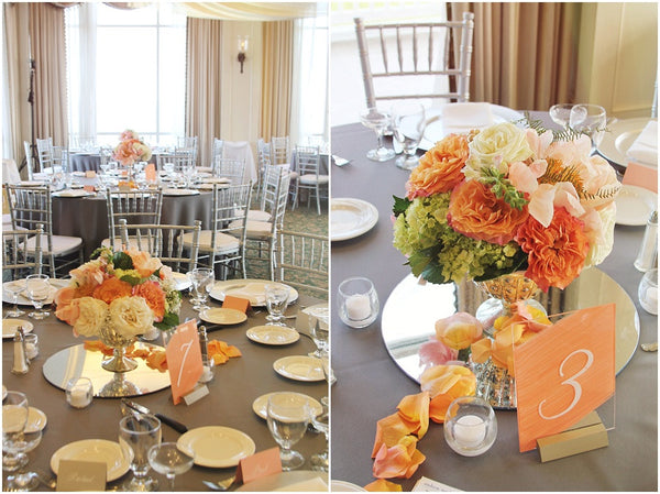 little miss lovely floral design // rehoboth beach country club wedding // coral charm garden rose centerpieces