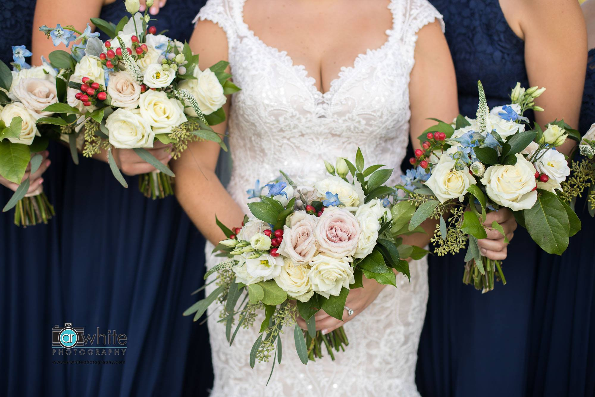 little miss lovely floral design // lighthouse sound bishopville ocean city md wedding // ivory dusty blue and burgundy wedding flowers