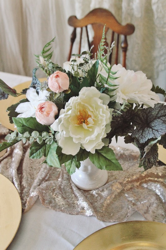 blush collection // compote centerpiece // little miss lovely floral design // artificial rental flowers