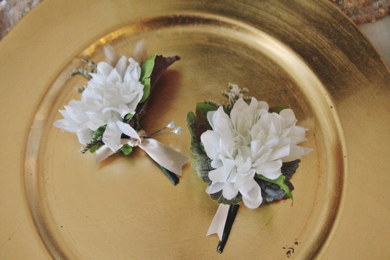 blush collection // boutonniere // little miss lovely floral design // artificial rental flowers
