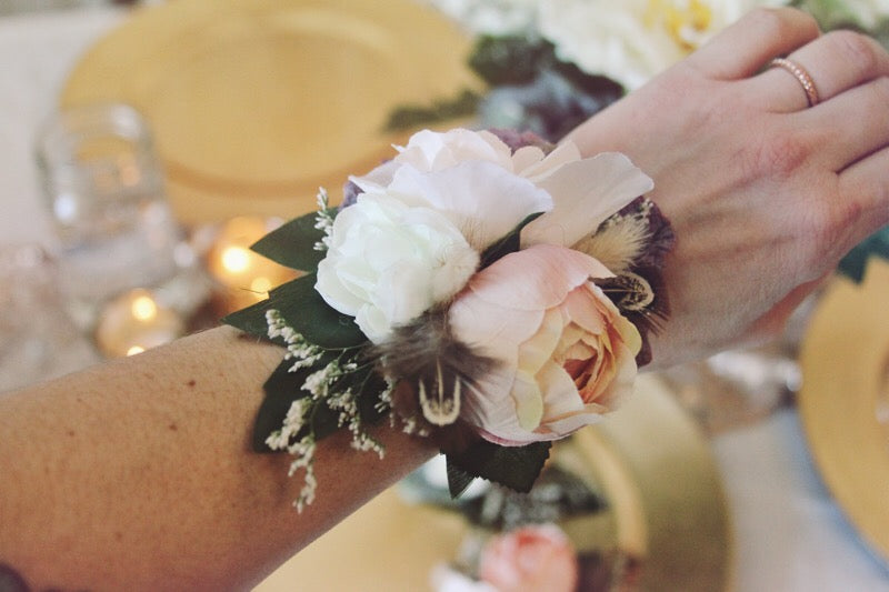 blush collection // wrist corsage // little miss lovely floral design // artificial rental flowers