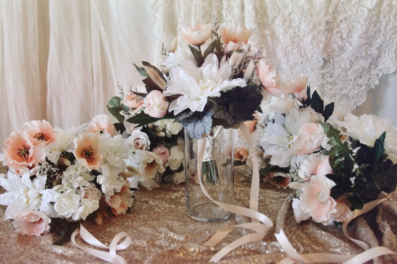 blush collection // bridesmaid bouquet // little miss lovely floral design // artificial rental flowers