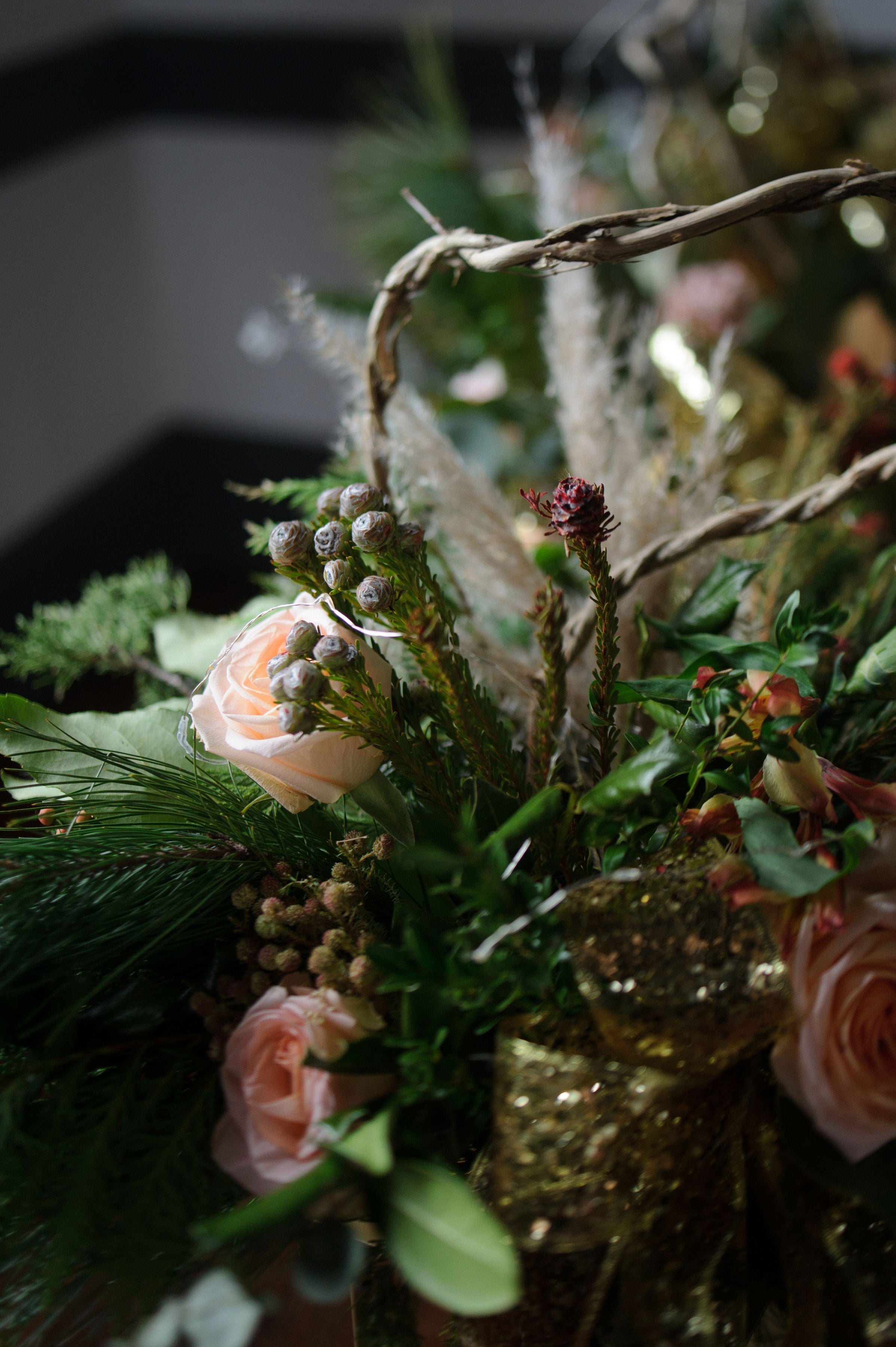 little miss lovely floral design // holiday party floral installations // alyssa maloof photography // berlin, md
