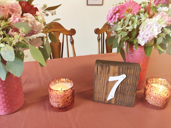 little miss lovely floral design // rustic wood block table number rental