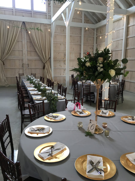 gold brass tall centerpiece riser - little miss lovely floral design event wedding rentals