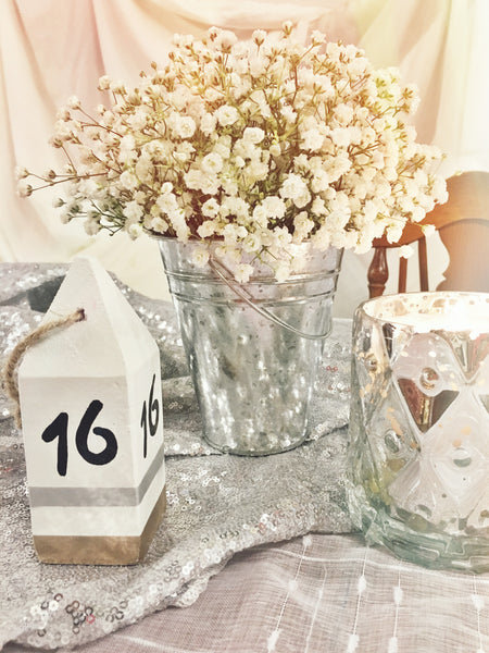 little miss lovely floral design event decorating // buoy table number white silver gold rental // ocean city maryland wedding rentals
