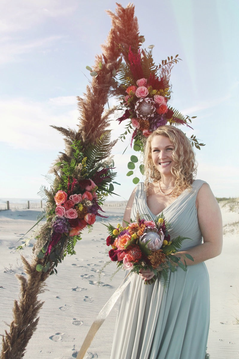 little miss lovely floral design // ocean city maryland // assateague island beach wedding florist // geometric colorful pampas grass fall wedding
