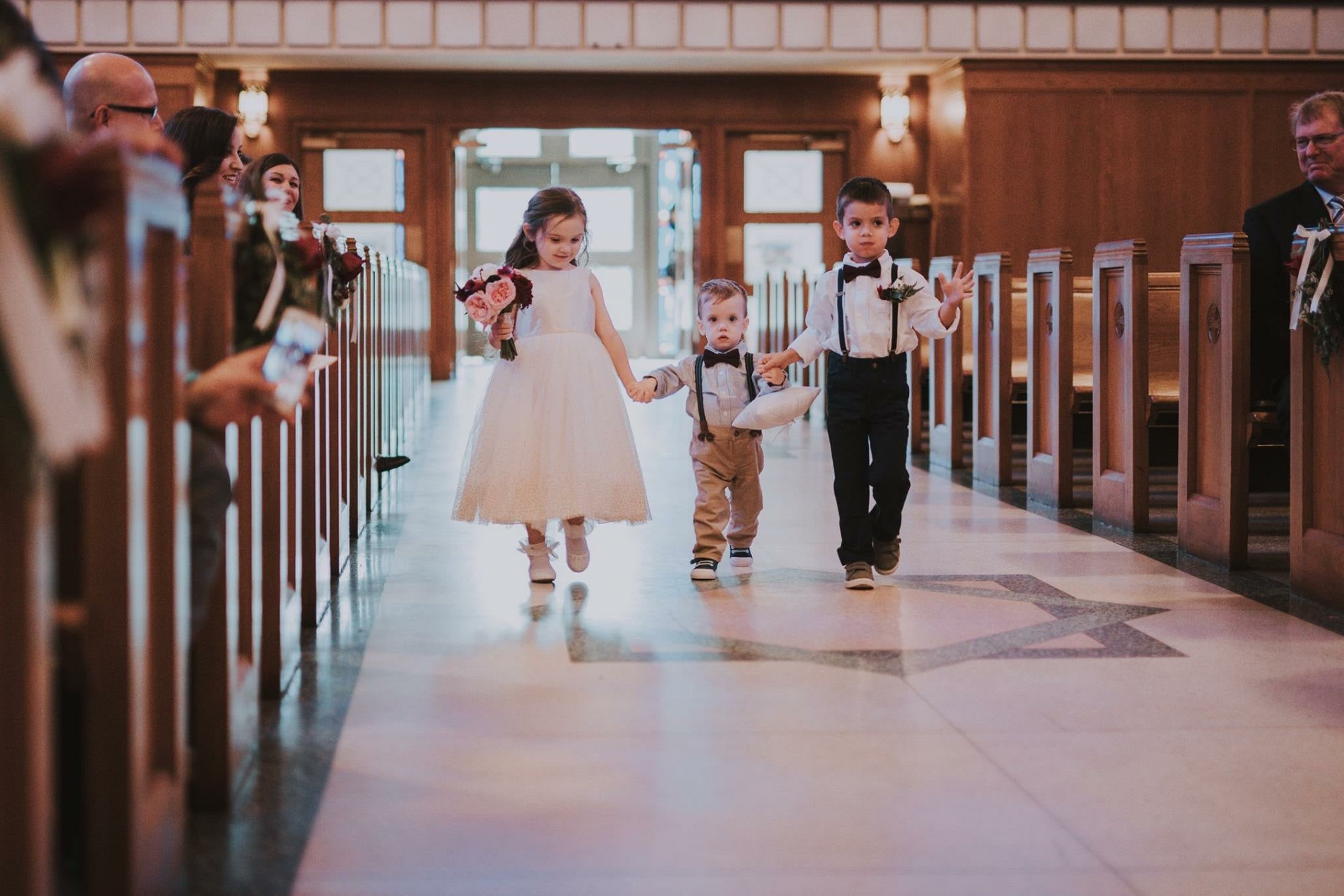 mary bell photography // little miss lovely floral design // blush pink burgundy wedding flowers // St. Francis De Sales Catholic Church salisbury md wedding