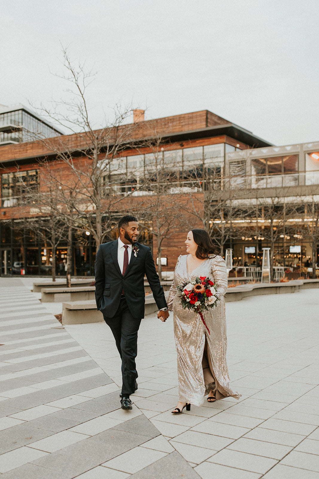 little miss lovely floral design // district winery wedding washington dc // deep red winter wedding florals